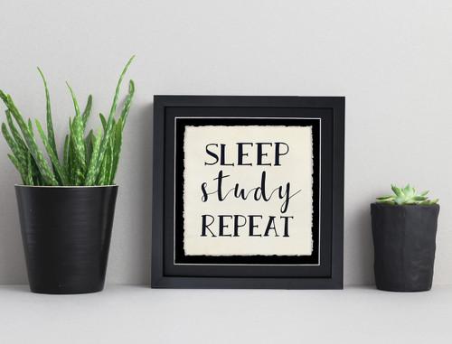 Sleep, Study, Repeat - Fine Art Print For Dorm, Classroom, or Home.