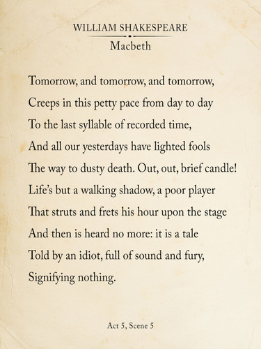 Macbeth Out Out Brief Candle Fine Art Print Book Page Style Shakespeare Print for Home, School or Office