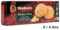 43307 GLUTEN FREE GINGER & LEMON SHORTBREAD WALKERS 6/4.9OZ