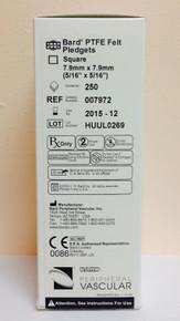 Bard 007972 PTFE Felt Pledgets 8 mm x 8 mm Box of 250 Bard® PTFE Felt Pledgets (Nominal Thickness 1.65 mm). 250/Box