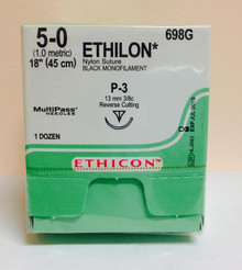 "Ethicon 698G ETHILON Suture, Precision Point - Reverse Cutting, Non-Absorbable, P-3 13mm 3/8 Circle, Black Monofilament 18"" ˜ 45cm, Size: 5-0"