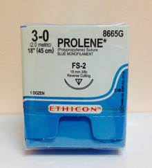 "Ethicon 8665G PROLENE Suture, Reverse Cutting, Non-Absorbable, FS-2 19mm 3/8 Circle, Blue Monofilament 18"" ˜ 45cm"