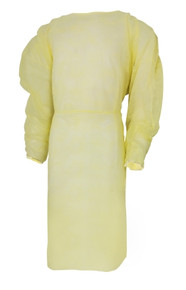 31521100 Fluid-Resistant Isolation Gown McKesson One Size Fits Most Yellow Elastic Cuff Adult Disposable, case of 50