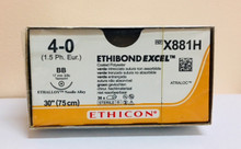 "Ethicon X881H ETHIBOND EXCEL Suture, Taper Point, Non-Absorbable, BB 17mm 3/8 Circle, Green Braided 30"" ˜ 75cm, Size: 4-0, Qty: 36/box"