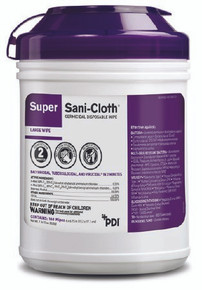 "Q55172 Super Sani-Cloth Germicidal Disposable Wipes - Wipe Size 6"" x 6.75"". Box of 12 Canisters"