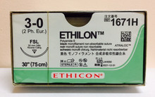 "Ethicon 1671H ETHILON Suture, Reverse Cutting, Non-Absorbable, FSL 30mm 3/8 Circle, Black Monofilament 30"" ˜ 75cm, Size: 3-0, Qty: 36/box"