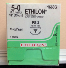 "1668G Ethicon 1668G ETHILON Suture, Precision Point - Reverse Cutting, PS-3, 18"", Size 5-0, 1dz"