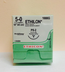 "Ethicon 1666G ETHILON Suture, Precision Point - Reverse Cutting, Non-Absorbable, PS-2 19mm 3/8 Circle, Black Monofilament 18"" ˜ 45cm, Size: 5-0, Qty: 12/box"