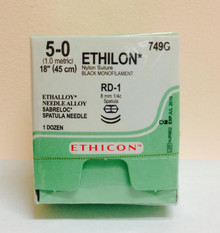 "Ethicon 749G ETHILON Suture, SABRELOC - Center Point Spatula, Non-Absorbable, RD-1 8.0mm / RD-1 ¼ Circle, Black Monofilament 18"" ˜ 45cm, Size: 5-0"
