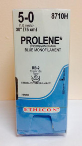 "Ethicon 8710H PROLENE Suture, Taper Point, Non-Absorbable, RB-2 13mm / RB-2 ½ Circle, Blue Monofilament 24"" ˜ 60cm, Size: 5-0"