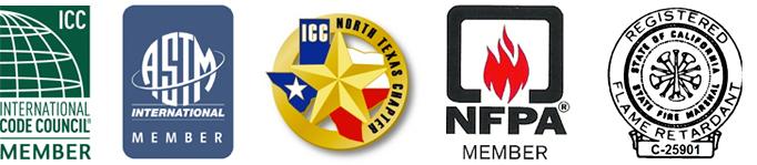 ICC, ASTM, NFPA, CA, TX Certified