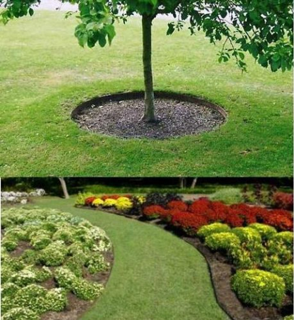 Examples of lawn edging placing