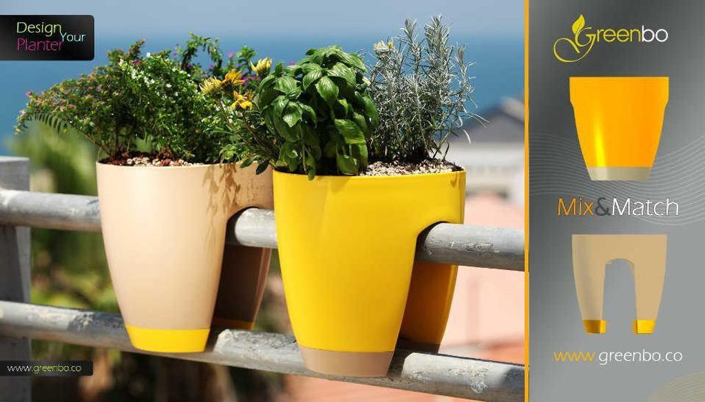 Greenbo railing planter mixed drainage colour.