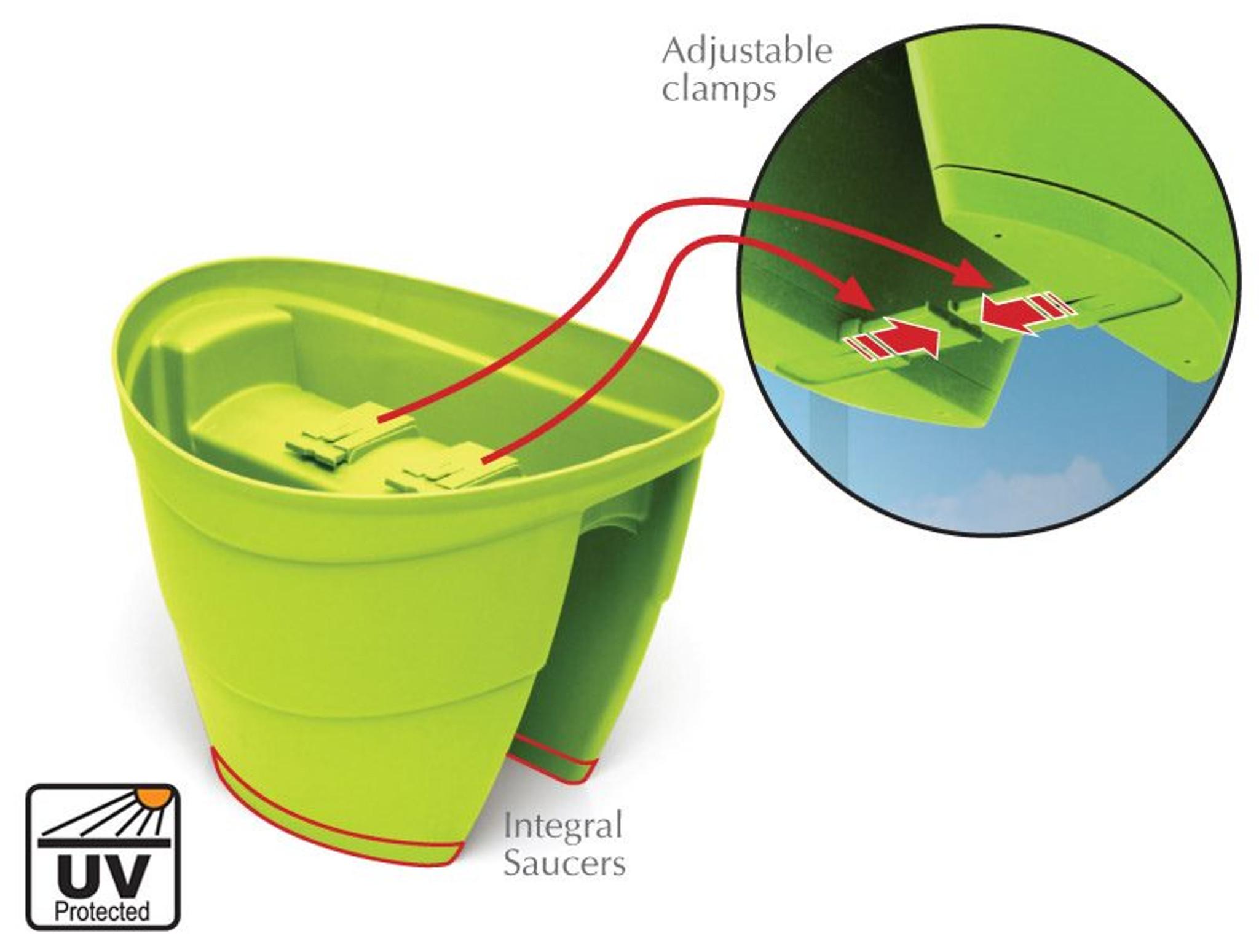 Clean drainage railing planter