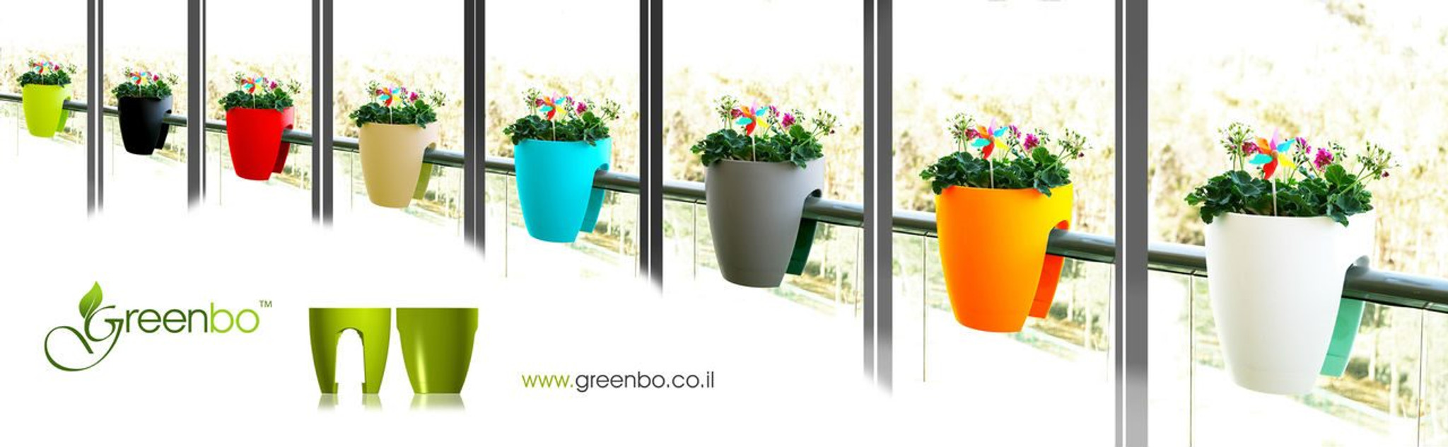 Varying colours of Greenbo railing planter.