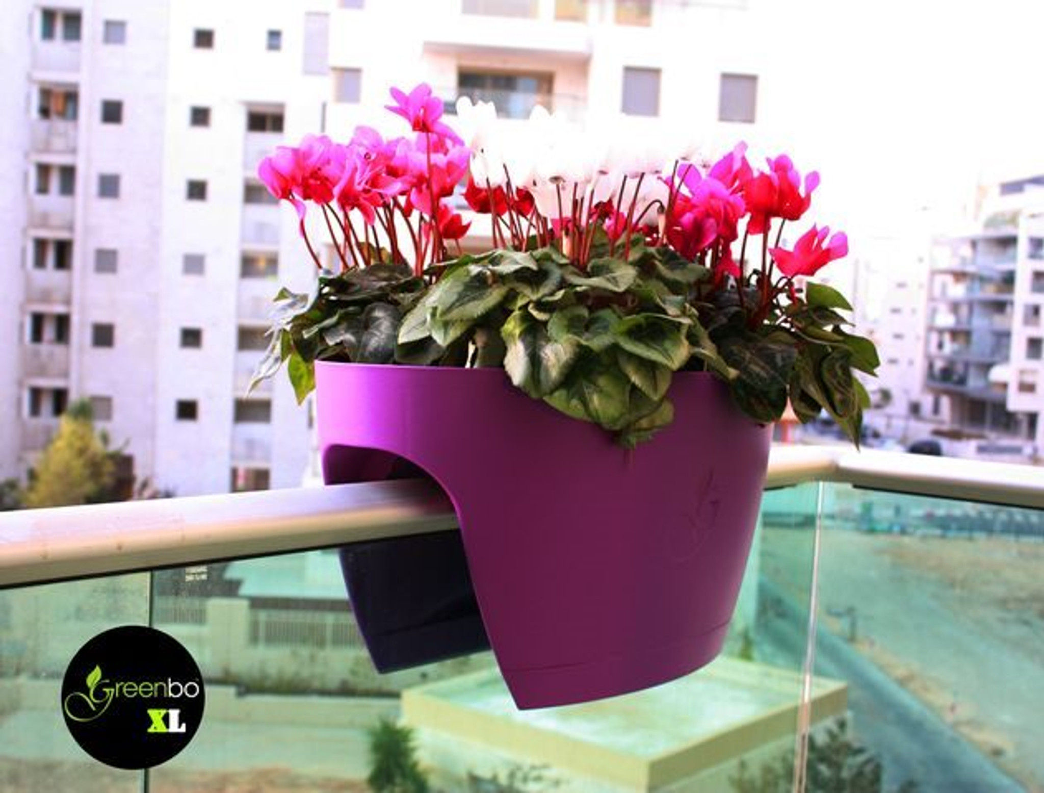 Purple Greenbo extra large planter on balcony railing.