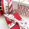 "Santa's Face and Holly ribbon printed on 5/8"" white single face satin, 10 Yards"