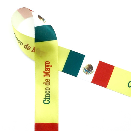 "Cinco de Mayo on 7/8"" white ribbon"