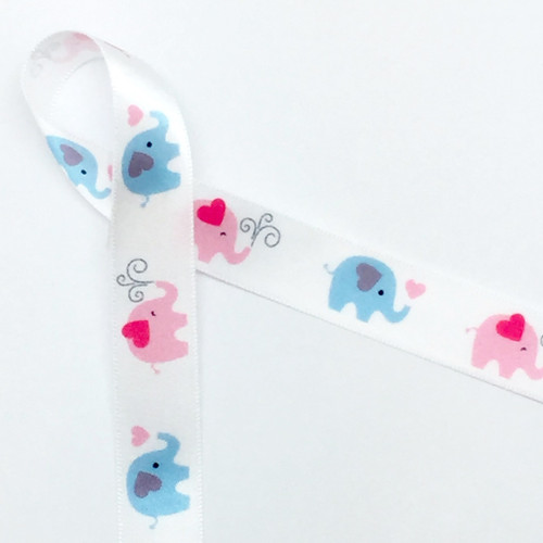"""Elephants of pink and blue march in a row along our 5/8"""" wide single face satin ribbon!"""