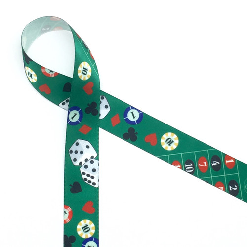 Casino themed ribbon with dice, chips, hearts, diamonds, clubs and spades.