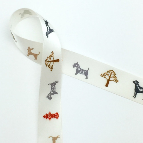 """Dogs on Parade on 7/8"""" Antique white single face satin ribbon, 10 Yards"""