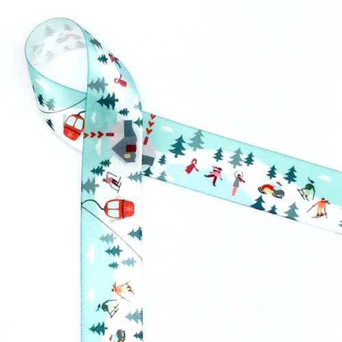"""Our 7/8""""  Winter fun ribbon features all the fun activities of the cold season! There is skiing, ice skating and snow mobiles along with a warming lodge for those who prefer reading by the fire! Designed and printed in the USA"""