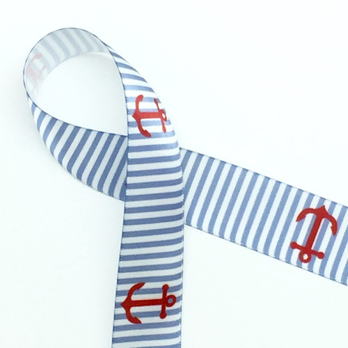 """Red anchors on a blue and white background on 7/8"""" white single face satin ribbon, 10 Yards"""