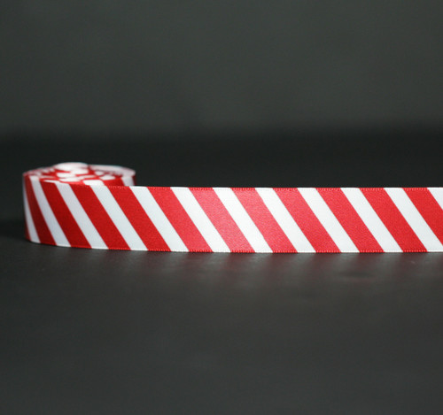 "Red stripes on 7/8"" white single face satin ribbon, 10 yards"
