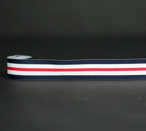 "Stripes of navy, red and white woven on 7/8"" grosgrain ribbon,  10 yards"