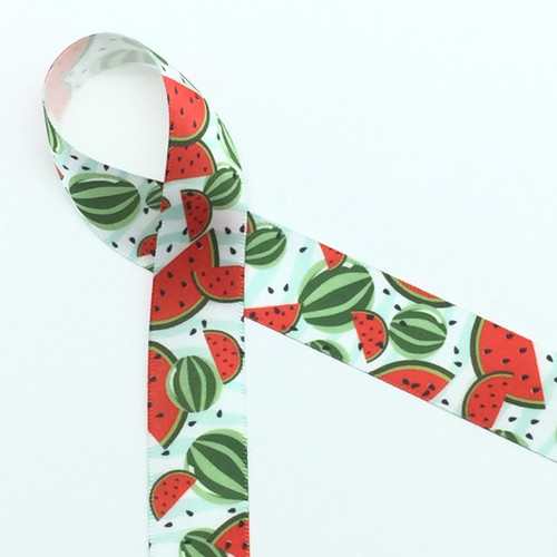 "Watermelons in red with black seeds and colorful green rinds on 7/8"" white single face satin ribbon, 10 Yards"