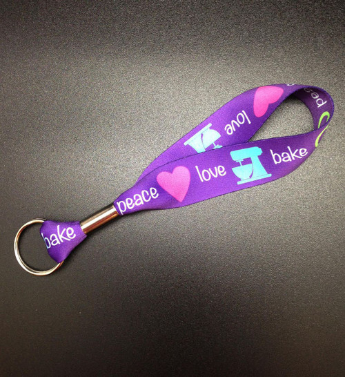 Peace, Love, Bake Key Fob.