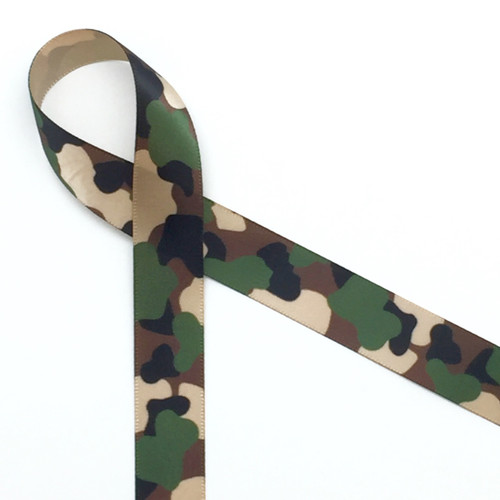Camouflage print in green and tan on tan single face satin ribbon, 10 yards