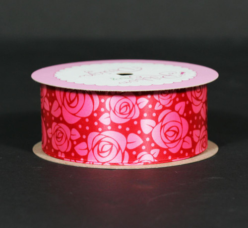 "Stylized roses in hot pink on a deep pink background are the sweetest way to surprise your Valentine. This ribbon is 1.5"" wide in hot pink single face satin ribbon."
