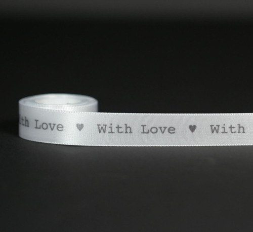 "With love in a plain type font with hearts printed in gray on 5/8"" white single face satin is the best way to make a simple statement of love!"