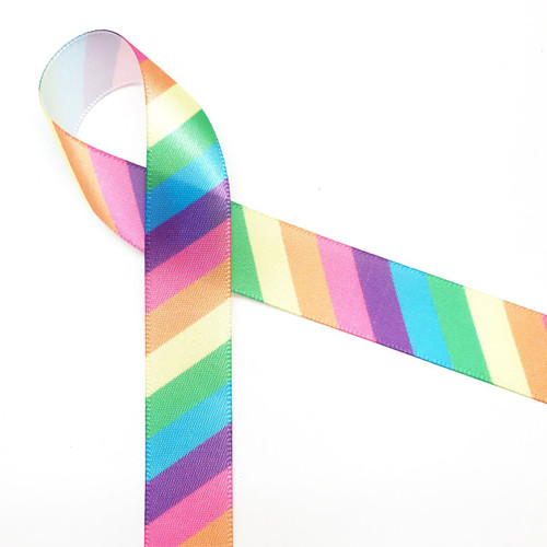 """Pastel rainbow stripes are featured on this 5/8"""" white single face satin ribbon. A perfect addition to any pastel themed gift or party!"""