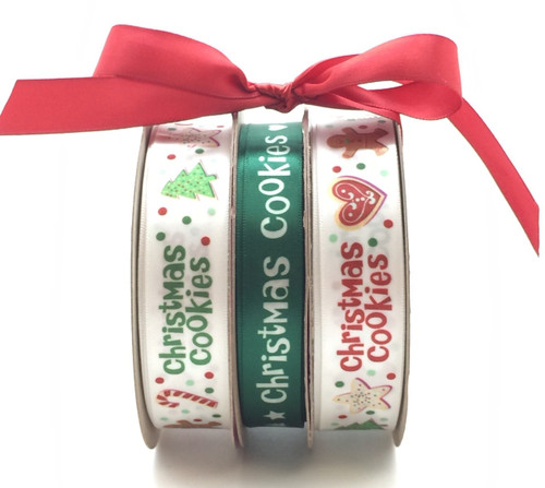 "Christmas Cookie Bundle pack with two spools of 7/8"" White ribbon with our Christmas cookies and sweets along the ribbon and one spool of 5/8"" Green ribbon with Christmas Cookies in white lettering. These beautiful ribbons are bundled together at a special price too!"