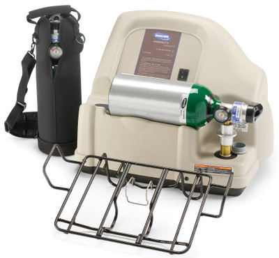 HomeFill II system includes HomeFill II compressor, 2 HomeFill cylinders, carry bag and ready rack