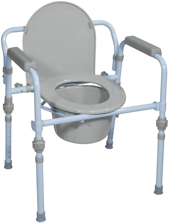 Steel Folding Commode Chair 11148KDR by Drive Medical
