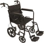 "Probasics Aluminum Transport Chair with 12"" Wheels TCA191612BK"