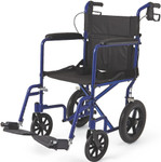 "Medline Aluminum Transport Wheelchair w/ 12"" Rear Wheels"