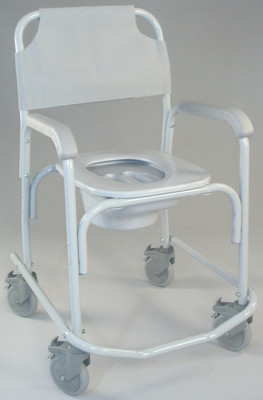 TFI Commode Shower Chair with Wheels, Elongated Seat 3235