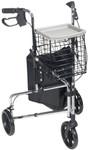Deluxe 3-Wheel Steel Walker, Basket, Tray 171 by Drive