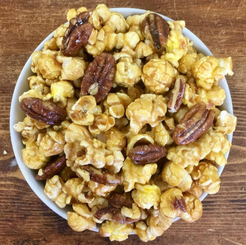 Caramel Popcorn with Glazed Pecans