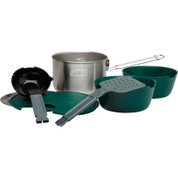 The Stanley Prep and Cook includes the 1.5L Stainless steel pot with lid, two insulated bowls, a nesting ladle and spatula set, and lids for both bowls which can do double duty as cutting boards.