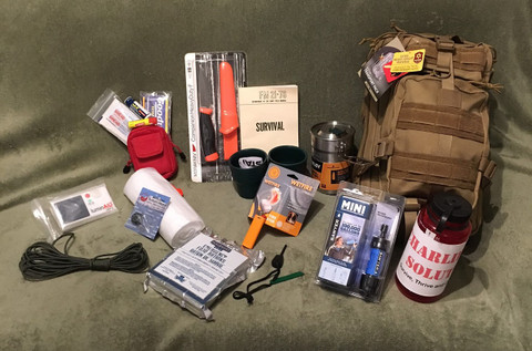 The CMS Real World Survival Kit includes Everything shown.  It is designed with realistic, usable tools and the included backpack has enough space for you to customize it with your own additional items.