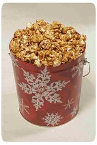 Snowflake on Red 1 Gallon Holiday Gift Tin