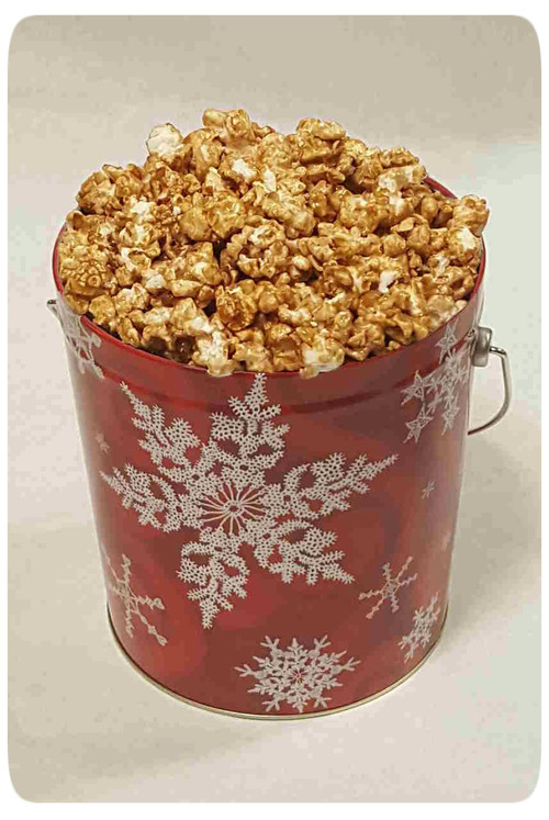Snowflake on Red 1 Gallon Holiday Gift Tin