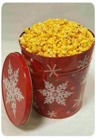 Snowflake on Red 6 Gallon Holiday Gift Tin