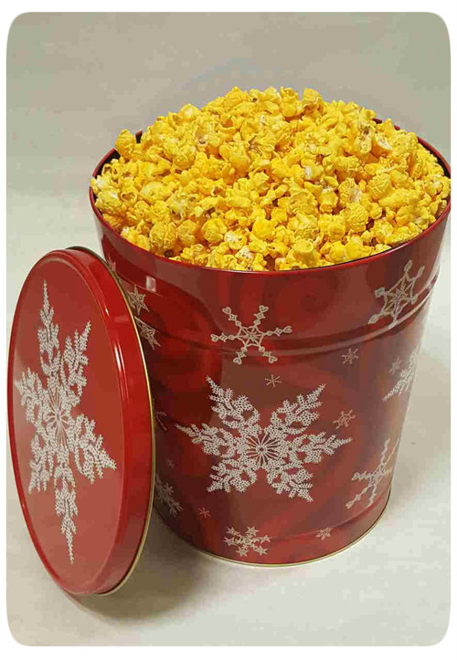 Snowflake on Red 6 Gallon Holiday Gift Tin