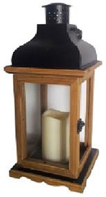 Brn Wd/glass Lantern